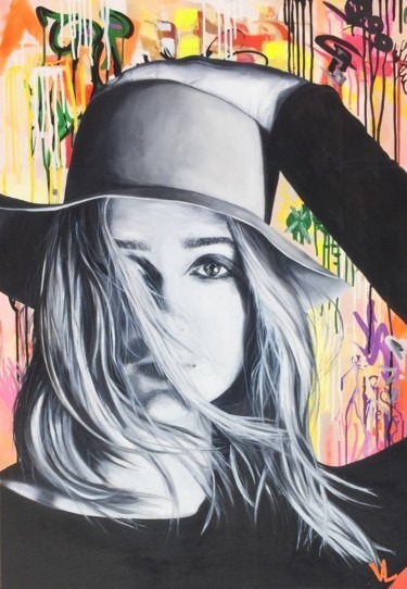 Femme blonde au chapeau peinture à l'huile