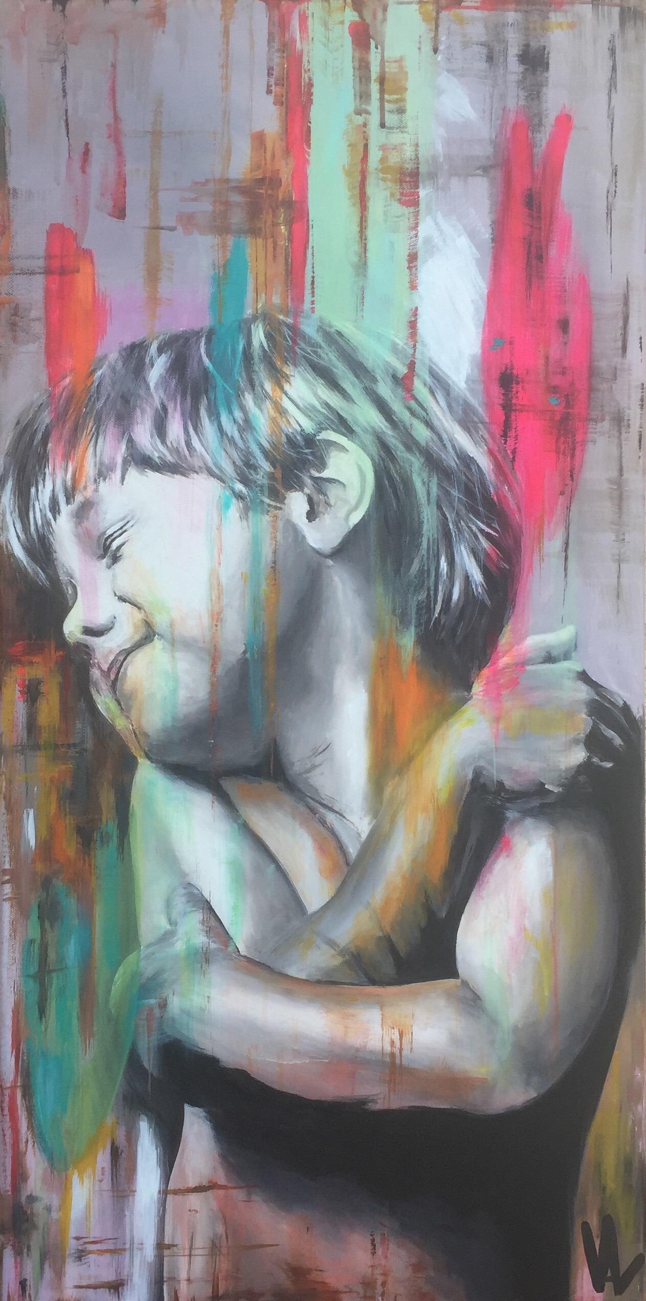 Pluie de couleurs sur l'enfant